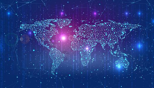 数字蓝色背景上的世界地图图片
