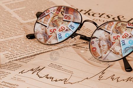 眼镜里的金融图片
