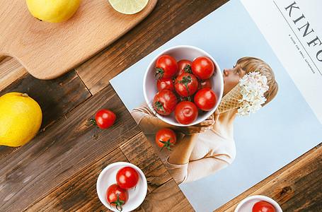 文艺风格水果餐桌图片