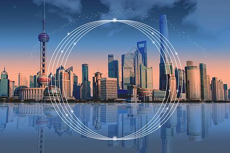 上海城市云科技夜景信息技术图片
