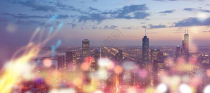 城市霓虹灯背景图片