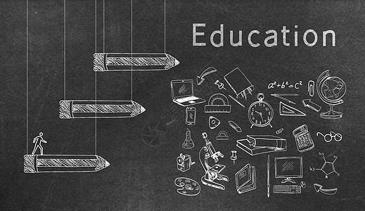 黑板与阶梯式铅笔图片