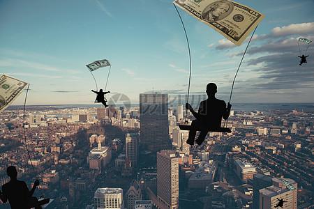 商务人在城市中遨游概念背景图图片