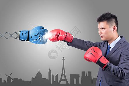 商务人士与拳击概念背景图图片