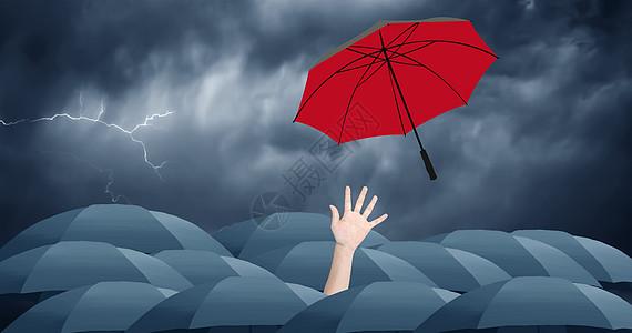 彩虹伞从商务人士手中飞出图片