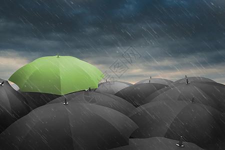 乌云下雨伞创意图片