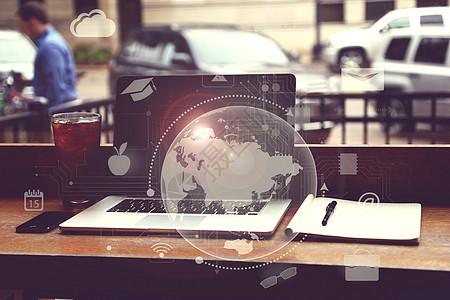 电脑科技地球背景图片