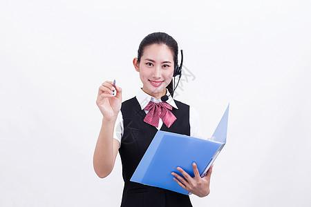 商业美女客服接听记录图片