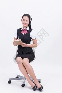 职业美女客服接听电话记录图片