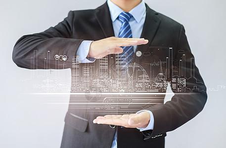 人物城市建筑背景图片