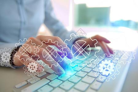商务男士办公科技齿轮键盘图片