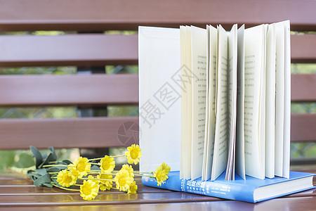 长椅上的书籍图片