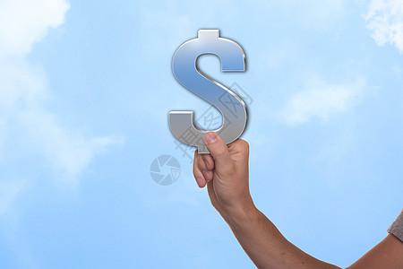 手拿美元符号图片