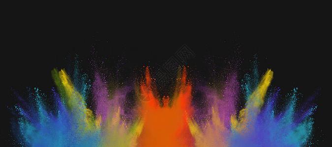 粉末多彩喷溅背景图片