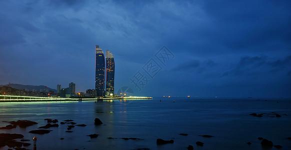 厦门双子塔夜景图片