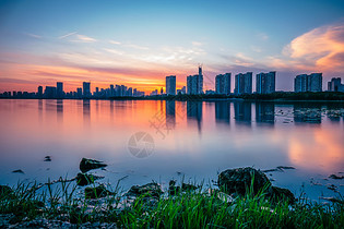 武汉沙湖日落风光图片