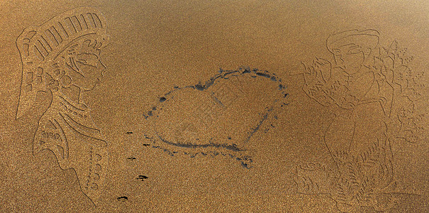 沙滩情侣画图片