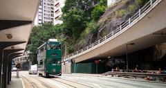 香港城市街景公交车叮叮车老电车图片