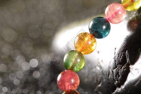 水晶手串碧玺图片
