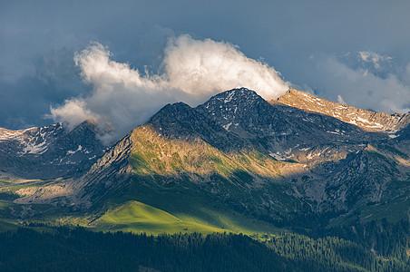 新疆风光白云蓝天雪山草地图片
