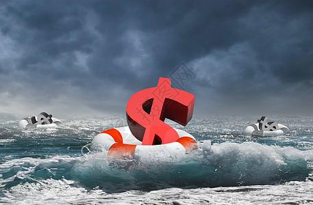 波涛汹涌的大海里的救生圈和货币图片