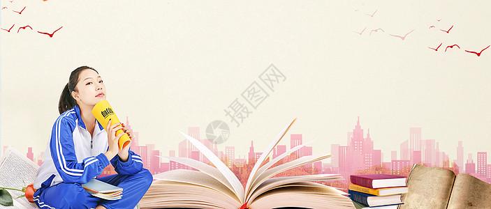 看书的女孩背景素材图片