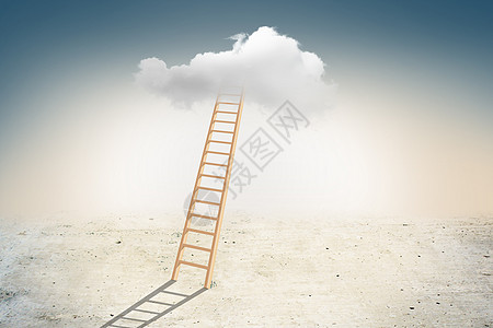 登梯上云层图片