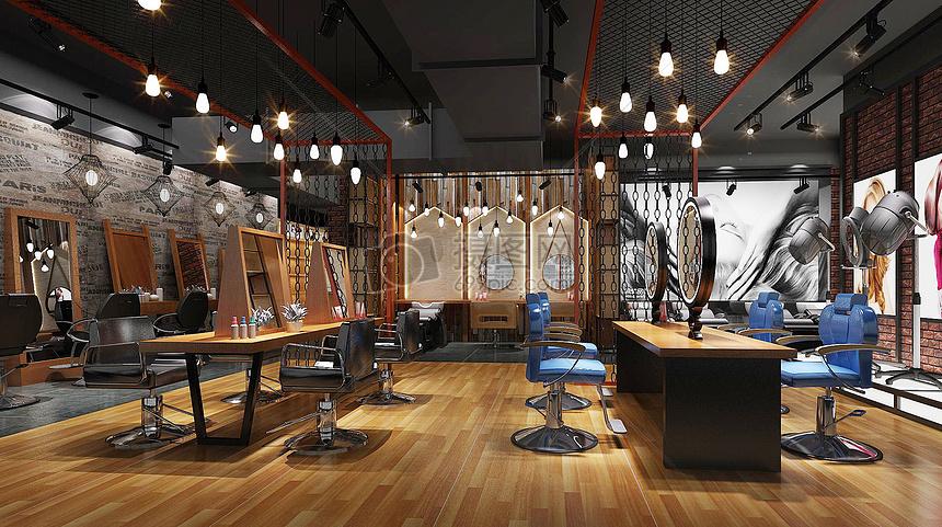 装修装潢家装家居复古室内室内效果图室内设计地板工业复古风美发店