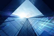 蓝色光效建筑图片
