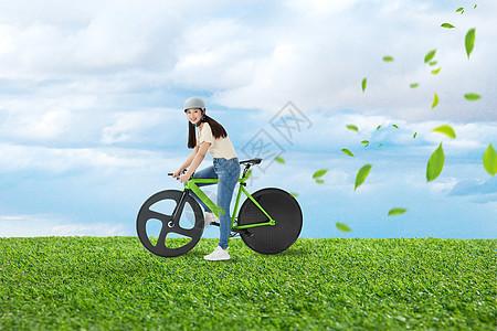 绿色骑行的人图片
