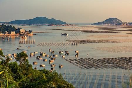 夕阳下的福建霞浦渔港图片