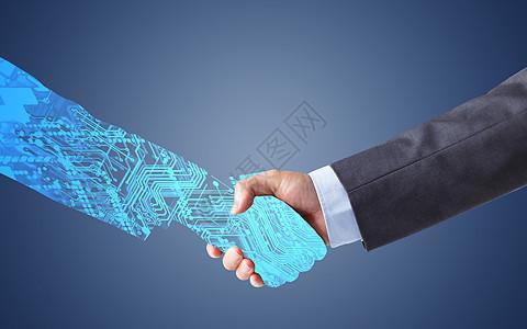 与科技握手图片