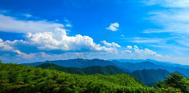 蓝天白云下的山峦叠嶂图片