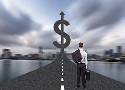 商人在道路走向一个美元符号图片