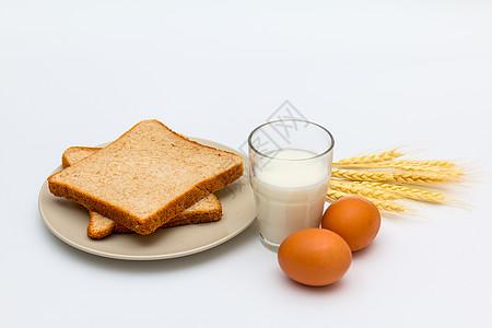 健康营养早餐面包鸡蛋牛奶图片