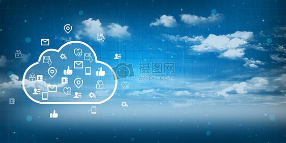 云计算蓝色科技背景图片