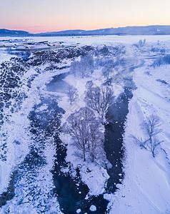航拍阿尔山雪原图片