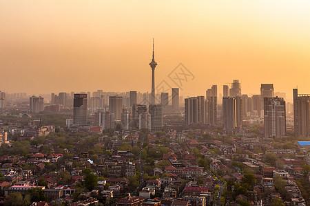 日落下城市建筑风光美景图片