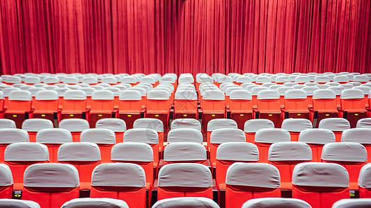 红色会议礼堂图片