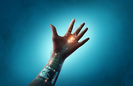 蓝色背景科技之手图片