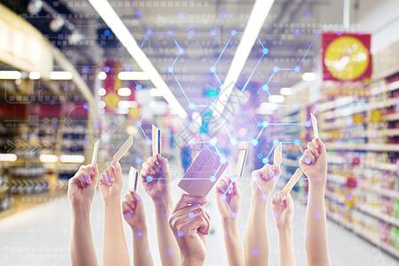 商场超市购物刷卡支付图片