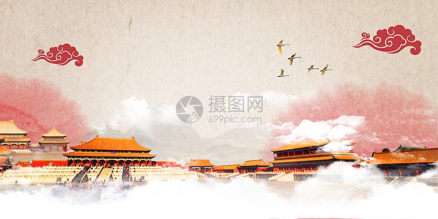 国庆节建军建党天安门手绘水彩背景