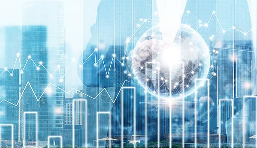 城市景观背景和网络连接概念图片