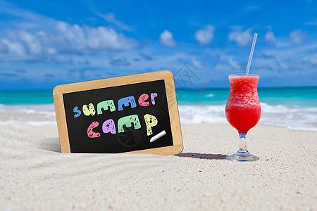夏天海边的夏令营小黑板图片