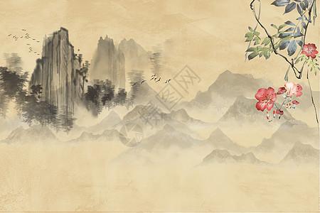 水墨远山中国风图图片