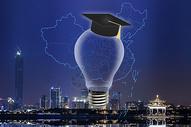 带着学士帽的灯泡覆盖城市图片