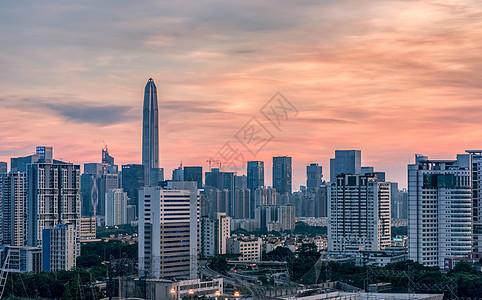 红霞中的城郭建筑城市风光图片