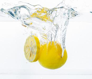 柠檬橙子水果夏日清凉冷饮气泡素材图片