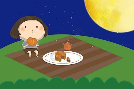 中秋吃月饼高清图片