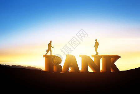 夕阳下的BANK图片